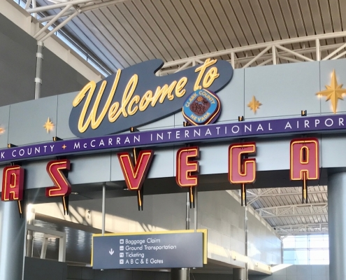 Welcome sign at the Las Vegas international airport