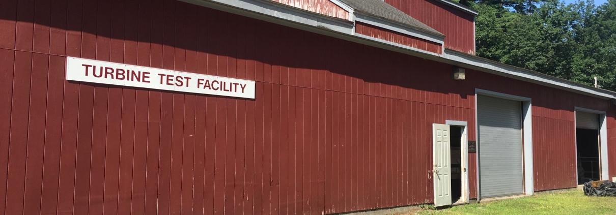 The outside of Alden's large turbine testing facility in Holden, Massachusetts