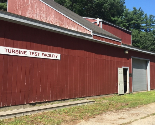 The outside of Alden's large turbine testing facility in Holden, Massachusetts